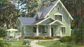 Проект дома Коттедж в старинном русском стиле, 166 м2