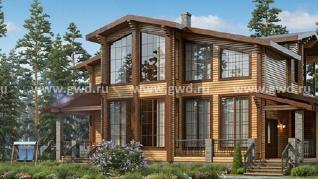 Проект дома Брусовой коттедж с панорамным остеклением, 369 м2