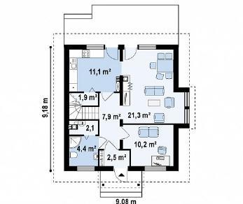 Проект дома Проект Z44, 118.6 м2