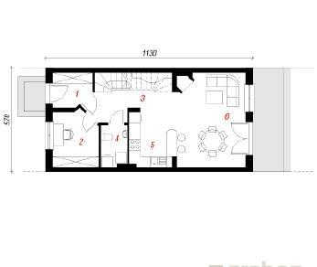 Проект  Дом под гинко, 96.3 м2