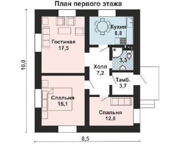 Проект дома AS-2054, 64 м2