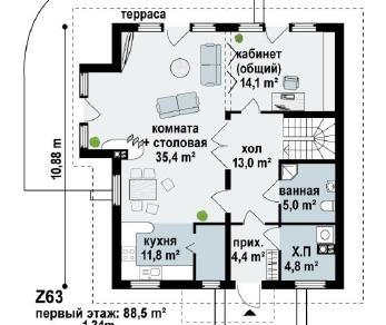 Проект дома Проект z63, 170.6 м2
