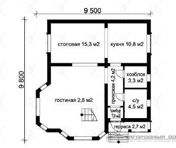 Проект дома Нахабино пеноблок, 114 м2