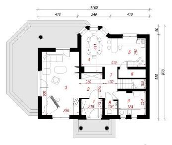 Проект  Дом в традесканциях, 133 м2