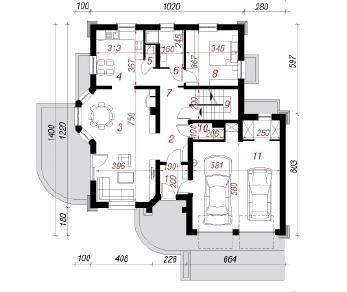 Проект  Дом в дуброве (Г2П), 329 м2
