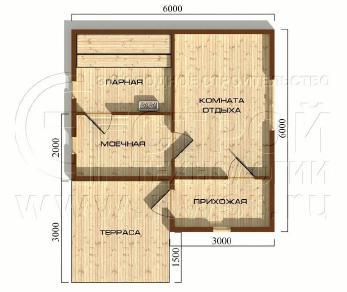 Проект бани Баня. Проект №14, 40.5 м2