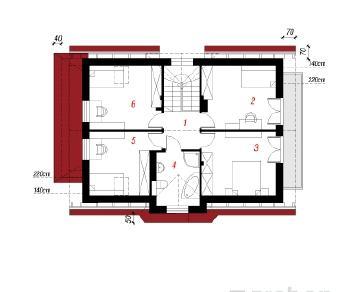 Проект  Дом в фуксиях, 138.5 м2
