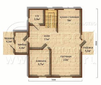 Проект дома Проект дома №120, 67.8 м2