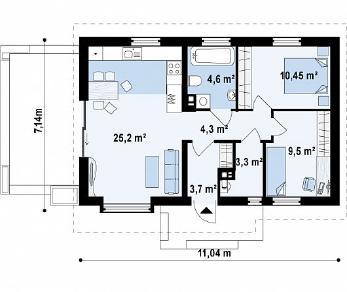 Проект дома Проект Z139, 61 м2
