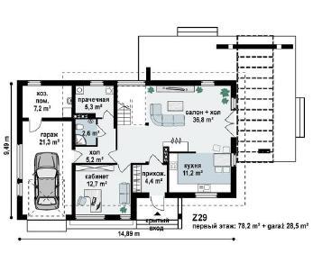 Проект дома Проект z29, 174.2 м2