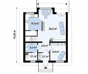 Проект дома Проект Z99, 127 м2