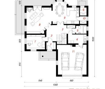 Проект  Дом под грабами, 226.2 м2