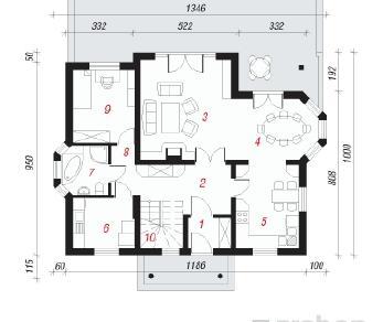 Проект  Дом под орехом, 151.5 м2