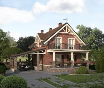Проект дома Двухэтажный дом с навесом для автомобиля, 147.9 м2
