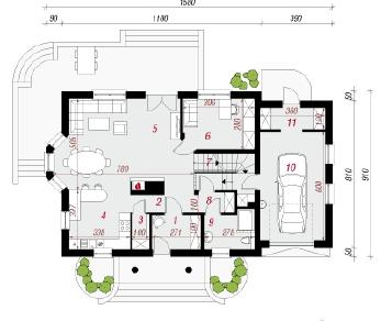 Проект  Дом в нектаринах 2 (П), 180.8 м2