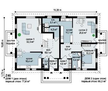 Проект дома Проект z46, 296.1 м2