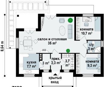 Проект  Проект z136, 75.7 м2