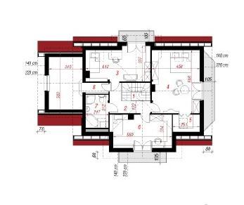 Проект  Дом в лобелиях, 178.4 м2