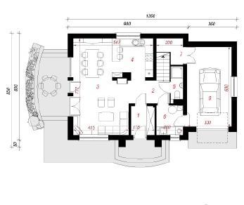 Проект  Дом в лантанах, 134.6 м2