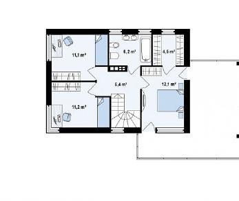 Проект дома Проект Zx63, 125.8 м2