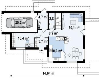 Проект дома Проект z150gl, 172 м2