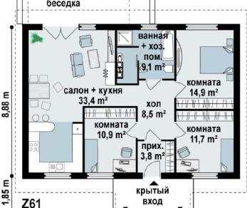 Проект дома Проект z61, 92.3 м2