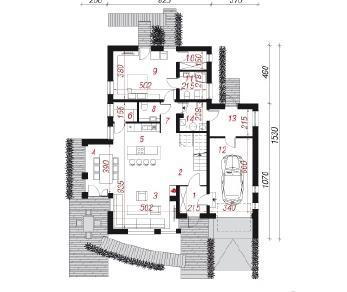 Проект  Дом под гуннерой, 221.3 м2