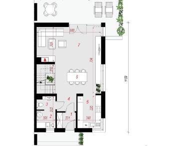 Проект  Дом в чернике (Б), 129.7 м2