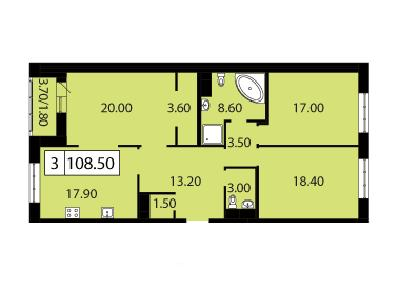 Продажа элитной квартиры 108.5 м2 в новостройке, Смоленская ул., д.14 - №104778