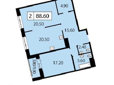 Продажа элитной квартиры 88.6 м2 в новостройке, Смоленская ул., д.14 - №104747