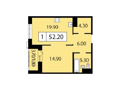 Продажа элитной квартиры 52.2 м2 в новостройке, Смоленская ул., д.14 - №104740
