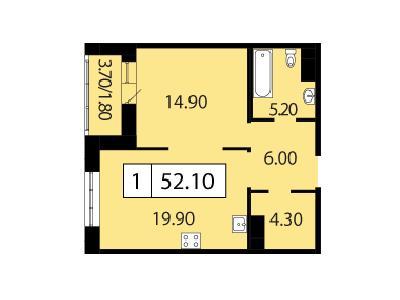 Продажа элитной квартиры 52.1 м2 в новостройке, Смоленская ул., д.14 - №104734
