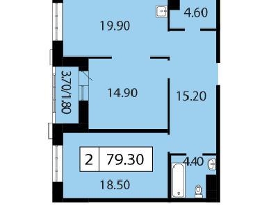 Продажа элитной квартиры 79.3 м2 в новостройке, Смоленская ул., д.14 - №104764