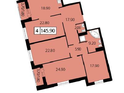 Продажа элитной квартиры 145.9 м2 в новостройке, Смоленская ул., д.14 - №104697