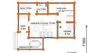Проект бани Проект БН-68, 59.1 м2