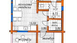 Проект бани Проект БН-64, 57.26 м2