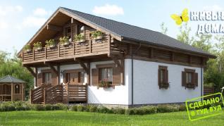 Проект  Деревянно-кирпичный дом в стиле шале, 318 м2