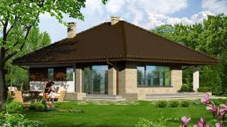 Проект  Дом в сирени, 78.7 м2