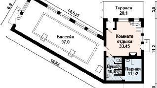 Проект бани AS-2118, 201 м2