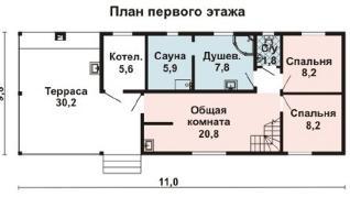 Проект бани AS-2121, 109 м2