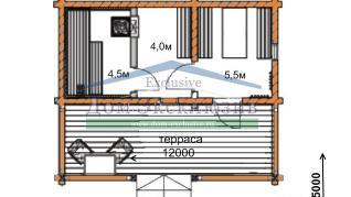 Проект бани Проект БН-32, 15.1 м2