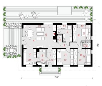 Проект  Дом под тутовым деревом, 118.6 м2