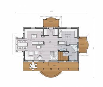 Проект  Проект деревянного коттеджа Alder 191, 263 м2