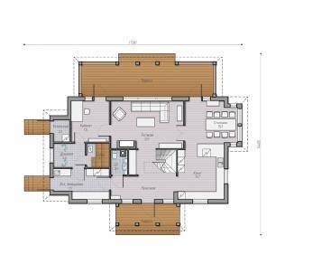Проект  Проект деревянного коттеджа Alder 180, 239 м2