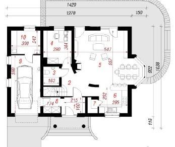 Проект  Дом в глициниях , 178 м2