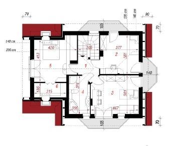 Проект  Дом в скальниках, 125.4 м2