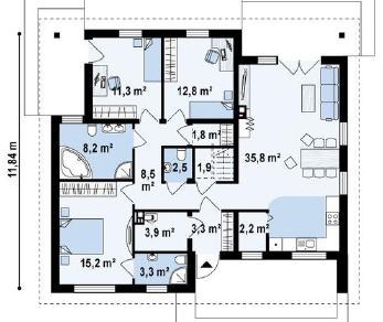 Проект дома Проект z230, 110.7 м2
