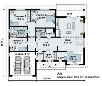 Проект дома Проект z26, 212.6 м2