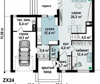 Проект дома Проект zx24, 162.6 м2