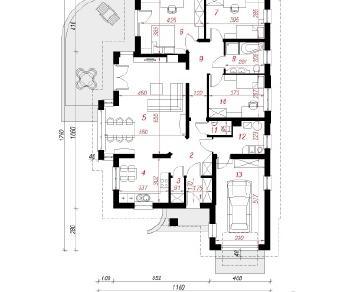 Проект  Дом в сливах , 131.9 м2